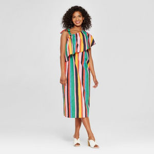 Who What Wear Striped One Shoulder Midi Dress